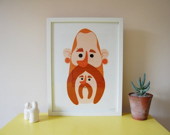Two faced Malcolm Print - Framed