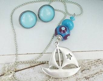 necklace chain • sailing • silver turquoise boat ship maritime