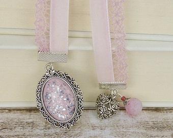 Bookmark pink heart cabochon cameo vintage silver