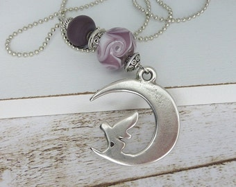 necklace chain • elf • silver moon purple