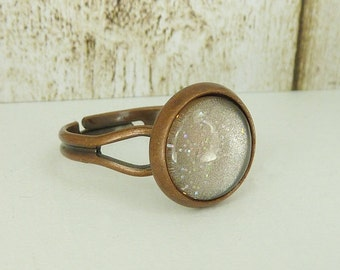 Ring adjustable copper glittering brown
