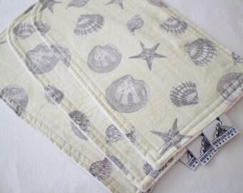 Seashells Burp Cloths, Ivory, Beigh, Gray - Cotton, Chenille - Nautical, Ocean, Beach, Feeding, Nursing, Baby Shower, Nursery, Diaper Bag