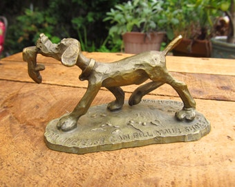 Vintage 1970's Hallmark Pewter Dog Figurine - No One Else Can Fill Your Shoes - Hallmark Little Gallery Fine Pewter by Kraczkowski