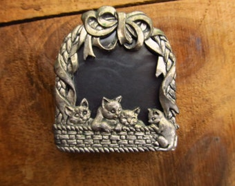 Vintage Pewter Kittens in a Basket Picture Frame - Arthur Court Mini Picture Frame