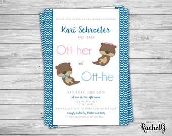 Otter Baby Shower - Her or He? - Digital Invitation PDF or JPG
