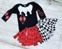 Girl jester costume, jester rag tutu, jester costume, jester bodysuit, halloween costume, joker costume, jester tutu, clown costume