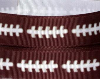 "7/8"" Football Ribbon Grosgrain Ribbon by the Yard Printed Ribbon for Hair Bows, Belts, Pendants and Wreaths"