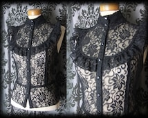 Gothic Black Frilled Lace Bib VICTORIAN GOVERNESS High Neck Blouse 10 12 Vintage