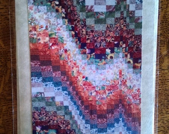 Photo greeting card. Blank photo card. Any occasion.  Detail of fall bargello.