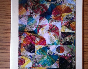 Photo greeting card. Blank photo card. Any occasion. Strips and Curves quilt photo. Butterflies.