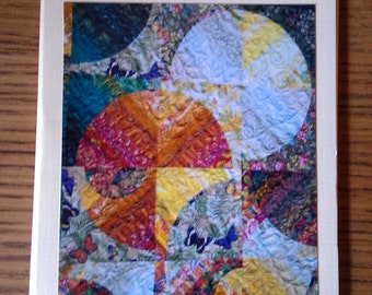 Photo greeting card. Blank photo card. Any occasion.  Detail of Strips and Curves quilt. Butterflies.