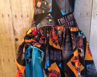 How to train your dragon Inspired Peekaboo Dress sizes newborn - girls 8