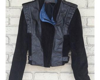 Vintage Black Leather & Suede Jacket