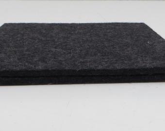 Charcoal Gray Felt Coasters, Set of Two Dark Grey Felt Coasters, Dark Grey Trivets