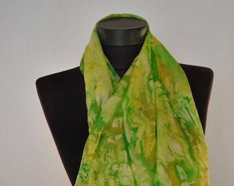 Vintage HANDMADE SILK SCARF , hand dyed silk scarf ...(029)