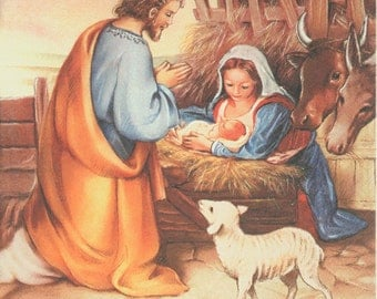4 Christmas Napkins | Away in a Manger | Holy Family Napkins | Nativity Napkins | Holiday Napkins | Paper Napkins for Decoupage