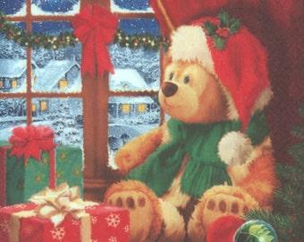 4 Christmas Napkins | Christmas Teddy Bear | Christmas Eve Napkins | Teddy Bear Napkins | Christmas Eve | Paper Napkins for Decoupage