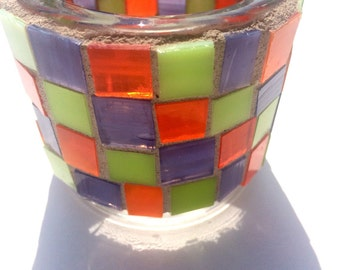 Stained glass mosaic votive, candle holder, small round candle holder, household decor in grape, lime, orange