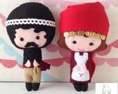 Tiny Felt Cretan Man Girl Traditional Plush Doll