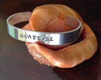 motivation bracelet, recovery bracelet, grateful bracelet, inspiring bracelet, cuff bracelet, recovery jewelry, personalized bracelet