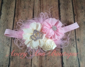 Pink Headband, Ivory Headband, Baby Headband, Newborn Headband, Flower Headband, Couture Headband, Shabby Chic Headband, Crown Headband