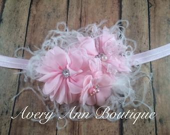 Pink Headband, Feather Headband, Baby Headband, Newborn Headband, Flower Headband, Couture Headband, Shabby Chic Headband