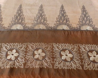 Vintage French silky embroidered fabric 1930's - TS1