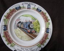 """Wedgwood """" Happy Birthday """"  Cake Plate, """" With Love From Thomas the Tank Engine , Thomas The Train Birthday Plate"""