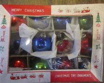 Box of 12 Vintage Japan Glass Ornaments