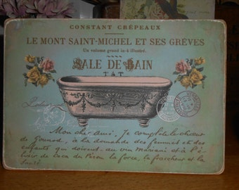 hanging bathroom wooden sign french decor bath sale de bain shabby chic decorative vintage advert gift for her lily maud recycled wood