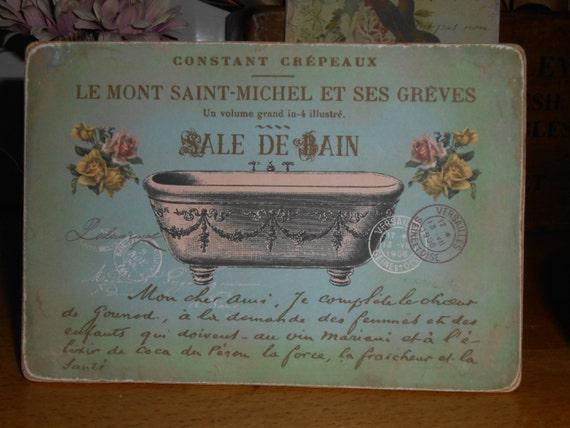 Hanging Bathroom Wooden Sign French Decor Bath Sale De Bain