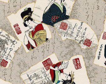 Ukiyo-e Geisha & Poetry - Gray Asian Japanese Oriental Fabric (Per 1/2 Yd)