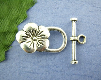 4 Antiqued Silver Flower Toggle Clasp Sets