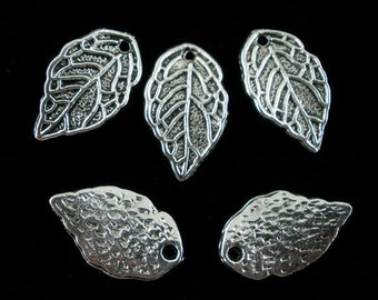 10 Antiqued Silver Tone Leaf Charms