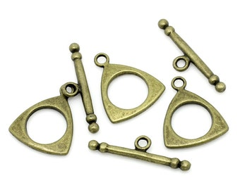3 Triangle Antiqued Bronze Toggle Clasp Sets