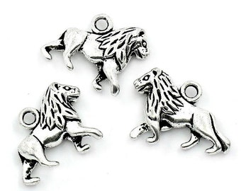 4 Antiqued Silver Lion Charms