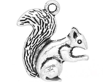 4 Antiqued Silver Squirrel Charms