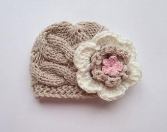 Newborn Baby Girl Hat , Knit Baby Hat , Baby Hat Photo Prop , Knit Baby Hat , Crochet Flower Hat ,Photo Prop
