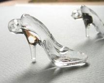 24 Cinderella's GLASS SLIPPERS - Miniature Glass Slipper, High Heel Charms, High Heel, Miniature Shoe, Cinderella Shoe Charm - BUL