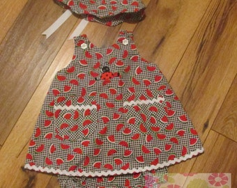 Baby Girls lady bug dress,bloomers and hat