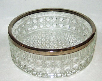 Crystal Glass Bowl with Silver Trim.