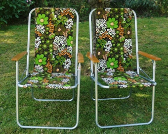Pair of vintage folding garden chairs