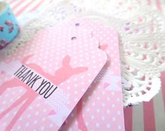 Baby Shower Thank you Gift Tags/ Pink Deer Gift Tags/ Woodland Animals Baby Shower Favours - GT042