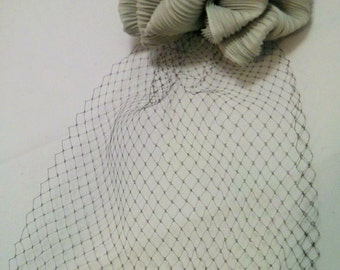 Altered Gray Silk Hair Bow with Black Birdcage Veil