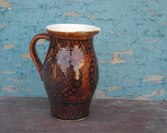 Vintage 1970's Brown Glazed Pottery - Ceramic Stoneware Pitcher, Vase, Jug - Home decor - Made in USSR