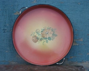 Soviet vintage large handled enamel tray with rose floral ornament - Home decor - Made in USSR