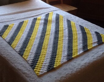 Crocheted lap afghan in yellows, greys and whites