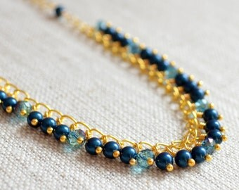 Dark Teal Necklace, Gold Plated Chain, Petrol Swarovski Pearl, Blue Green Crystals, Fringe, Autumn, Fall Jewelry