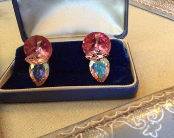 Vintage Wendy Gell Pink and AB Large Gem Earrings Love....