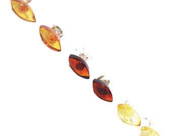 Amber Studs in marquise shape with sterling silver back finding. Comes with lovely gift box.
